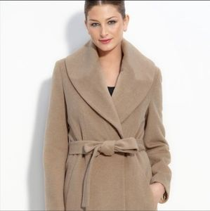 Calvin Klein Wool Belted Wrap Trench Coat  Gray